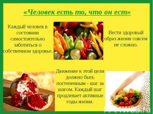 «Человек есть то, что он ест» Каждый человек в состоянии самостоятельно заботить