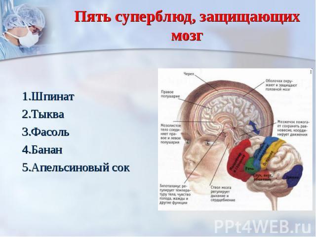 Пять суперблюд, защищающих мозг 1.Шпинат2.Тыква3.Фасоль4.Банан5.Апельсиновый сок