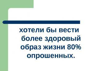 хотели бы вести более здоровый образ жизни 80% опрошенных.