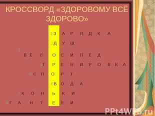 КРОССВОРД «ЗДОРОВОМУ ВСЁ ЗДОРОВО»
