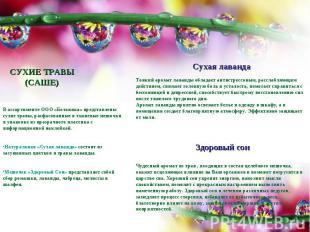 СУХИЕ ТРАВЫ(САШЕ)В ассортименте ООО «Ботаника» представлены сухие травы, расфасо