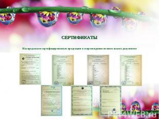 СЕРТИФИКАТЫМы предлагаем сертифицированную продукцию в сопровождении полного пак