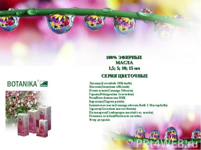 100% ЭФИРНЫЕ МАСЛА1,5; 5; 10; 15 млЛаванда(Lavendula Officinalis)Жасмин(Jasminum officinale)Иланг-иланг(Cananga Odorata)Герань(Pelargonium Graveolens)Роза(Rosa damascena Mill)Бархатцы(Tagetes patula)Кананговое масло(Cananga odorata Baill. f. Macroph…