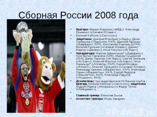 Сборная России 2008 года Вратари: Михаил Бирюков («МВД»), Александр Еременко («С