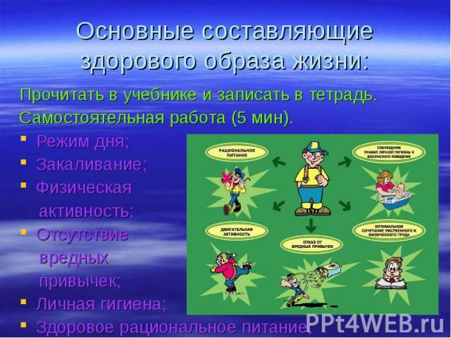 Основные составляющие здорового образа жизни: Прочитать в учебнике и записать в тетрадь.Самостоятельная работа (5 мин).Режим дня;Закаливание;Физическая активность;Отсутствие вредных привычек;Личная гигиена;Здоровое рациональное питание;