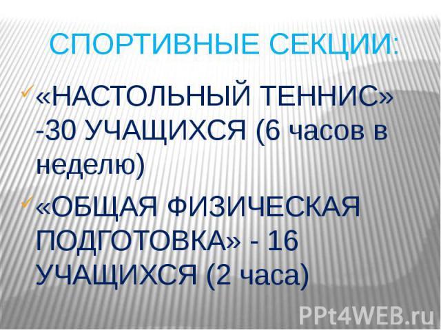 СПОРТИВНЫЕ СЕКЦИИ: «НАСТОЛЬНЫЙ ТЕННИС» -30 УЧАЩИХСЯ (6 часов в неделю)«ОБЩАЯ ФИЗИЧЕСКАЯ ПОДГОТОВКА» - 16 УЧАЩИХСЯ (2 часа)