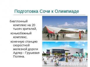 Подготовка Сочи к Олимпиаде биатлонный комплекс на 20 тысяч зрителей, конькобежн