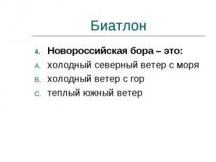 Биатлон Новороссийская бора – это:холодный северный ветер с моряхолодный ветер с