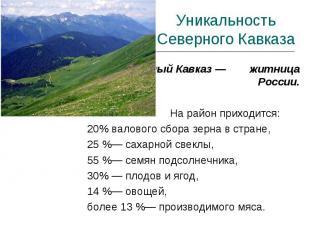 Уникальность Северного Кавказа Северный Кавказ — житница России. На район приход