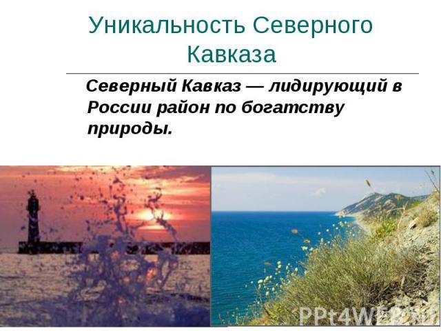Уникальность Северного Кавказа Северный Кавказ — лидирующий в России район по богатству природы.