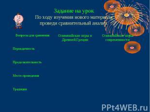 Задание на урокПо ходу изучения нового материалапроведи сравнительный анализ.