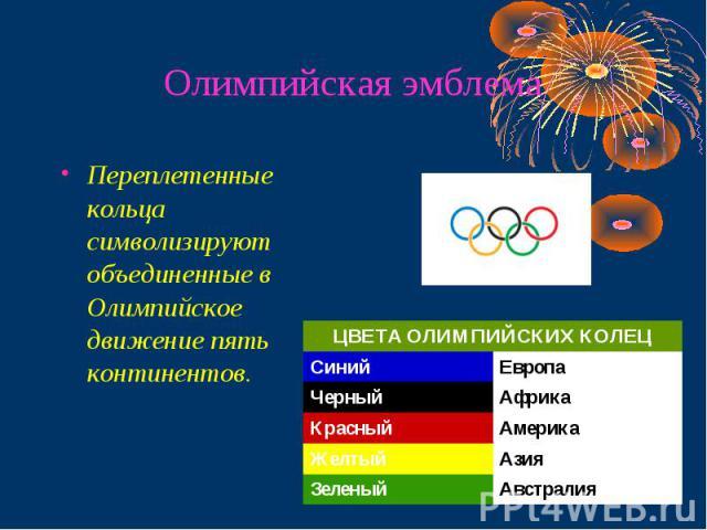 Олимпийская эмблема Переплетенные кольца символизируют объединенные в Олимпийское движение пять континентов.
