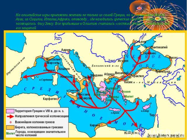 На олимпийские игры приезжали жители не только из самой Греции, но и с побережья Малой Азии, из Сицилии, Италии,Африки, отовсюду , где находились греческие города- колонии. Игры посвящались богу Зевсу. Все прибывшие в Олимпию считались «гостями Зевс…