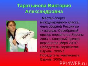 Таратынова Виктория Александровна Мастер спорта международного класса, член сбор