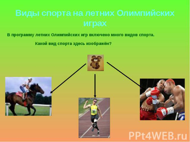 Виды спорта на летних Олимпийских играх В программу летних Олимпийских игр включено много видов спорта. Какой вид спорта здесь изображён?