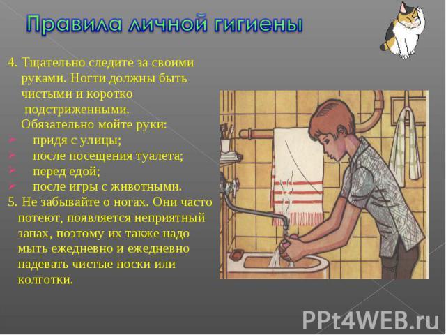 Правила личной гигиены 4. Тщательно следите за своими руками. Ногти должны быть чистыми и коротко подстриженными. Обязательно мойте руки:придя с улицы;после посещения туалета;перед едой;после игры с животными.5. Не забывайте о ногах. Они часто потею…