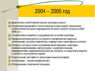 2004 – 2005 год Диагностика и проблемный анализ ситуации в школеРеализация прогр