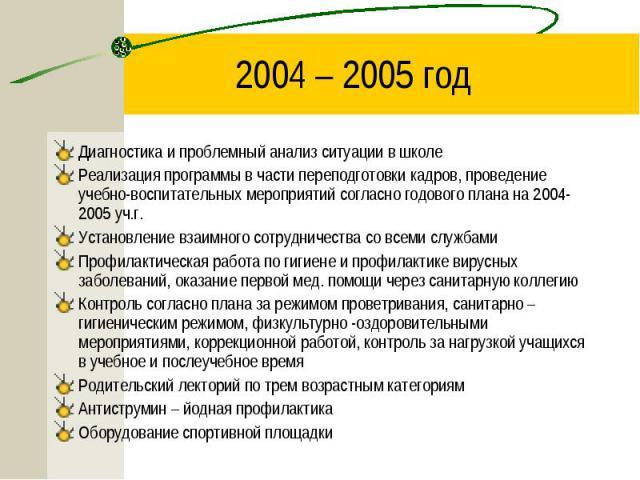 2004 – 2005 год Диагностика и проблемный анализ ситуации в школеРеализация программы в части переподготовки кадров, проведение учебно-воспитательных мероприятий согласно годового плана на 2004-2005 уч.г.Установление взаимного сотрудничества со всеми…