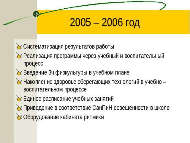 2005 – 2006 год Систематизация результатов работыРеализация программы через учебный и воспитательный процессВведение 3ч физкультуры в учебном планеНакопление здоровье сберегающих технологий в учебно – воспитательном процессеЕдиное расписание учебных…