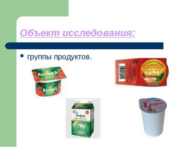 Объект исследования: группы продуктов.
