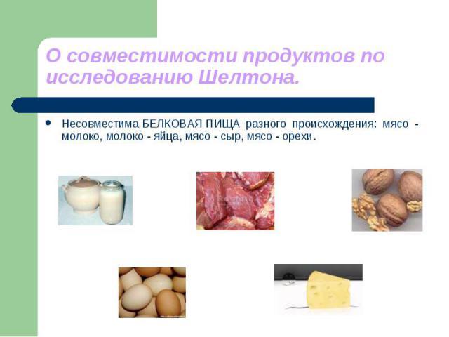 О совместимости продуктов по исследованию Шелтона. Несовместима БЕЛКОВАЯ ПИЩА разного происхождения: мясо - молоко, молоко - яйца, мясо - сыр, мясо - орехи.