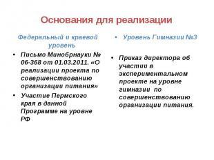 Основания для реализации Федеральный и краевой уровеньПисьмо Минобрнауки № 06-36