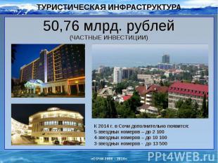 ТУРИСТИЧЕСКАЯ ИНФРАСТРУКТУРА 50,76 млрд. рублей(ЧАСТНЫЕ ИНВЕСТИЦИИ)К 2014 г. в С