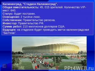 """Калининград, """"Стадион Калининград"""". Общая вместительность: 45, 015 зрителей. Кол"""