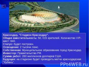 """Краснодар, """"Стадион Краснодар"""". Общая вместительность: 50, 015 зрителей. Количес"""