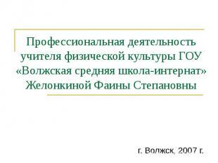 Профессиональная деятельность учителя физической культуры ГОУ «Волжская средняя