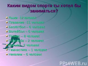 Каким видом спорта ты хотел бы заниматься? Лыжи -12человекПлавание -11 человекБа