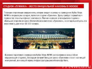 СТАДИОН «ЛУЖНИКИ» - МЕСТО ОФИЦИАЛЬНОЙ ФАНЗОНЫ В МОСКВЕГлавным спортивным сооруже