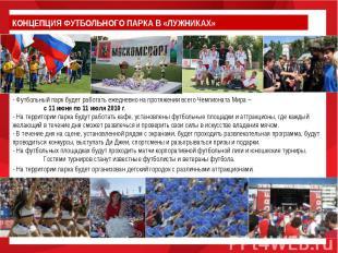 КОНЦЕПЦИЯ ФУТБОЛЬНОГО ПАРКА В «ЛУЖНИКАХ» - Футбольный парк будет работать ежедне