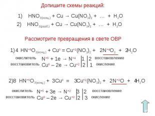 Допишите схемы реакций:1) HNO3(конц.) + Cu → Cu(NO3)2 + … + H2O2) HNO3(разб.) +