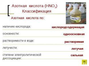 Азотная кислота (HNO3) КлассификацияАзотная кислота по:наличию кислорода:основно