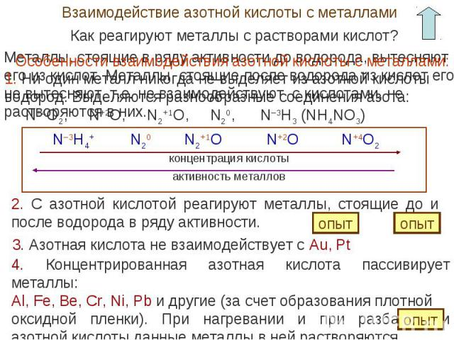 Взаимодействие азотной кислоты с металламиКак реагируют металлы с растворами кислот? Особенности взаимодействия азотной кислоты с металлами:1. Ни один металл никогда не выделяет из азотной кислоты водород. Выделяются разнообразные соединения азота: …