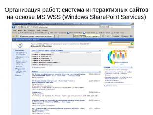 Организация работ: cистема интерактивных сайтов на основе MS WSS (Windows ShareP