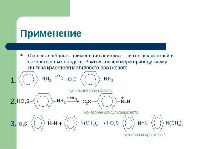 Применение Основная область применения анилина – синтез красителей и лекарственных средств. В качестве примера приведу схему синтеза красителя метилового оранжевого: