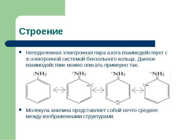 Строение Неподеленная электронная пара азота взаимодействует с -электронной системой бензольного кольца. Данное взаимодействие можно описать примерно так:Молекула анилина представляет собой нечто среднее между изображенными структурами.