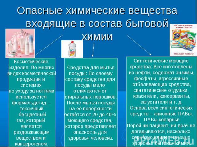 Опасные химические вещества входящие в состав бытовой химии Косметические изделия: Во многихвидах косметическойпродукции и системах по уходу за ногтямииспользуется формальдегид – токсичный бесцветныйгаз, который является раздражающимвеществом и канц…