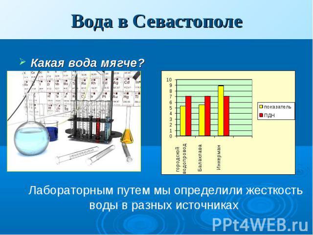 Вода в Севастополе Какая вода мягче?Лабораторным путем мы определили жесткость воды в разных источниках