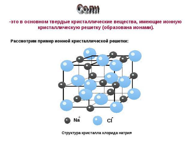 Соли это в основном твердые кристаллические вещества, имеющие ионную кристаллическую решетку (образована ионами).Рассмотрим пример ионной кристаллической решетки:Структура кристалла хлорида натрия