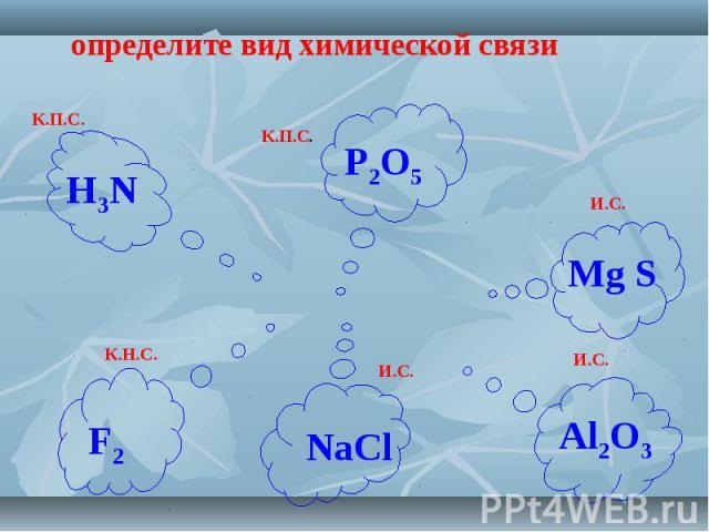 определите вид химической связи