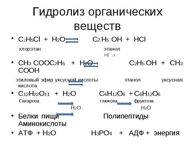 Гидролиз органических веществ C2H5Cl + H2O C2 H5 OH + HCl хлорэтан этанол H⁺ , tCH3 COOC2H5 + H2O C2H5 OH + CH3 COOH этиловый эфир уксусной кислоты этанол уксусная кислотаС12H22O11 + H2O C6H12O6 + C6H12O6 Сахароза глюкоза фруктоза H2O H2OБелки пищи …