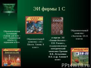ЭИ фирмы 1 С Образовательная коллекция: «Химия для всех – XXI: Химические опыты