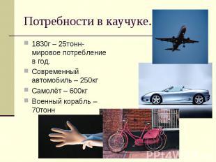 Потребности в каучуке. 1830г – 25тонн- мировое потребление в год.Современный авт