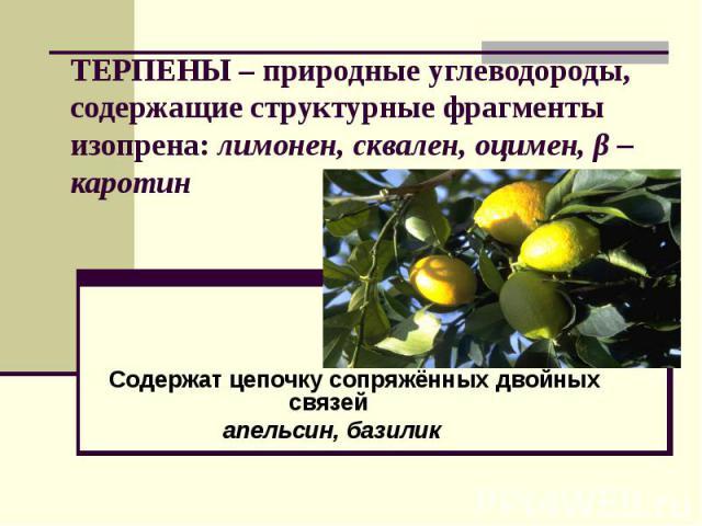 ТЕРПЕНЫ – природные углеводороды, содержащие структурные фрагменты изопрена: лимонен, сквален, оцимен, β – каротин Содержат цепочку сопряжённых двойных связей апельсин, базилик