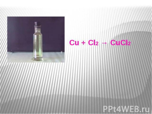 Cu + Cl2 → CuCl2