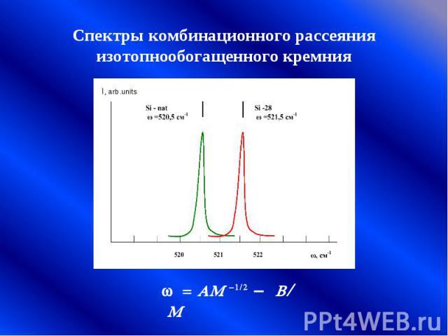 Спектры комбинационного рассеяния изотопнообогащенного кремния w = AM -1/2 - B/ M
