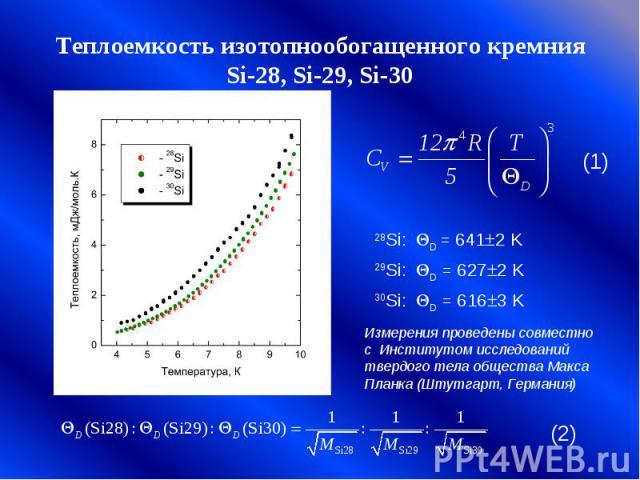 Теплоемкость изотопнообогащенного кремния Si-28, Si-29, Si-30